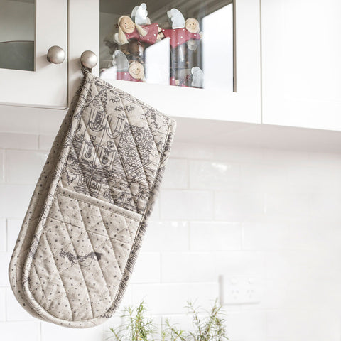 Raine & Humble | The Night Before Christmas Double Oven Glove in Grey