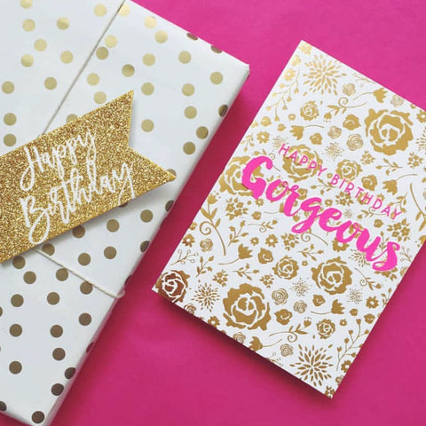 Candle Bark Creations |  Gorgeous Blooms Birthday Gold Foil Gift Card