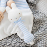 Alimrose Designs | Baby Bunny Stick Rattle in Pale Blue & White Stripe