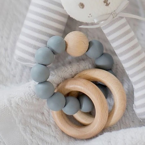Alimrose Designs | Beechwood Silicone Teether Soother Rings Set in Storm Grey