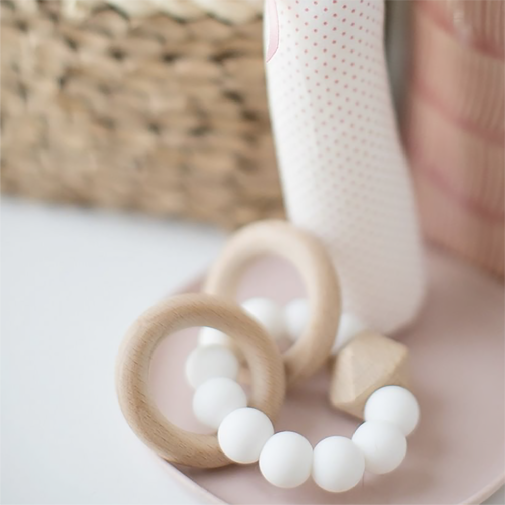 Alimrose Designs | Beechwood Silicone Teether Soother Rings Set in Milk White