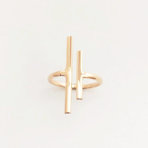 123home | Sterling Silver (925) Rose Gold Plated Parallel Bars Ring