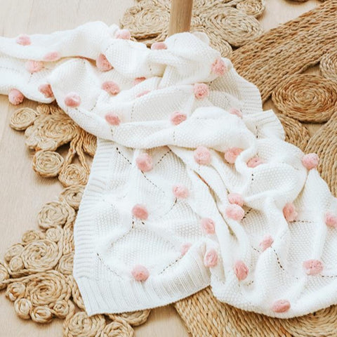 Alimrose Designs | Organic Cotton Pom Pom Blanket in White & Pink
