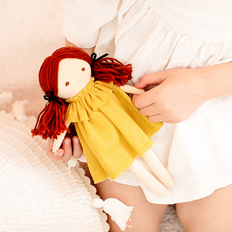 Alimrose Designs | Mini Matilda Doll in Butterscotch Yellow Linen