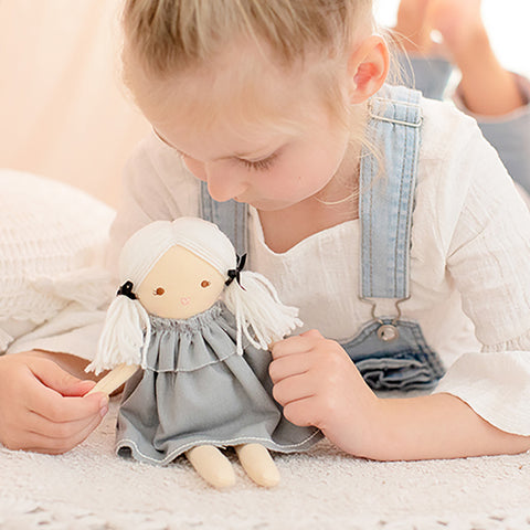 Alimrose Designs | Mini Matilda Doll in Grey Linen