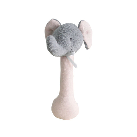 Alimrose Designs | Elephant Stick Rattle Toy in Pink Linen