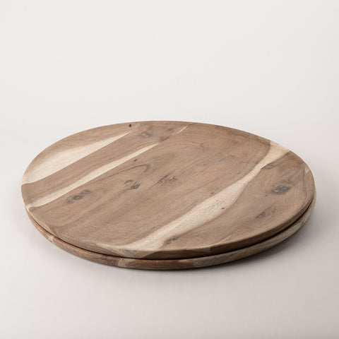 123home | Acacia Round Wooden Platter Serving Plate