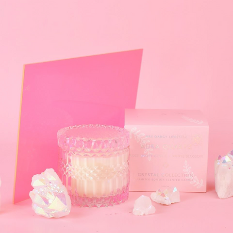 Mrs. Darcy | Crystal Soy Candle - Aura Quartz: Rose, Sweet Citrus + Orange Blossom