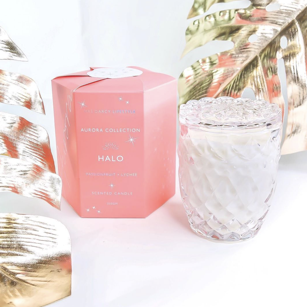 Mrs Darcy | Aurora Soy Scented Candle - Halo: Passionfruit + Lychee