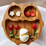 Owl Bamboo Suction Plate