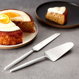 Amalfi | Avery 2 Piece Cake Serving Set in Silver & White