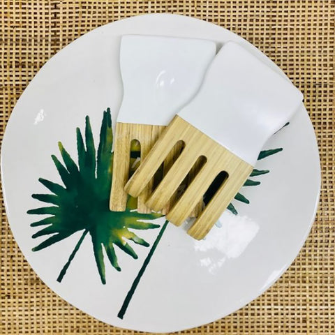 Ivory House | Salad Bamboo Hand Servers in White