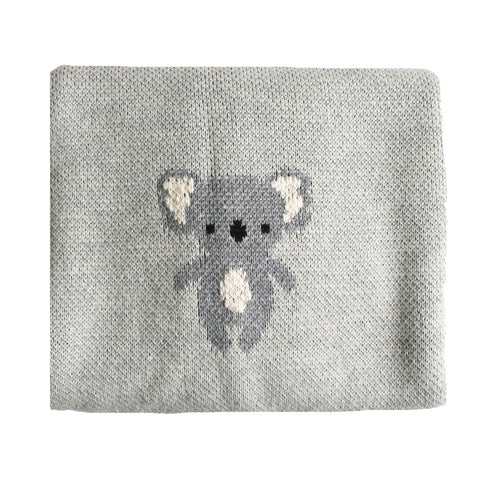 Alimrose Designs | Organic Cotton Baby Blanket in Grey Koala Print