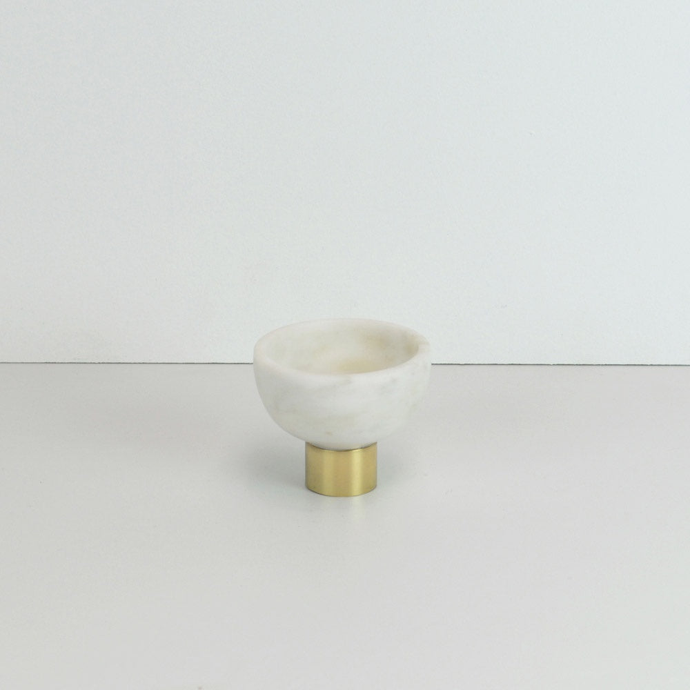 123home | Gold Brass Footed Small White Marble Bowl