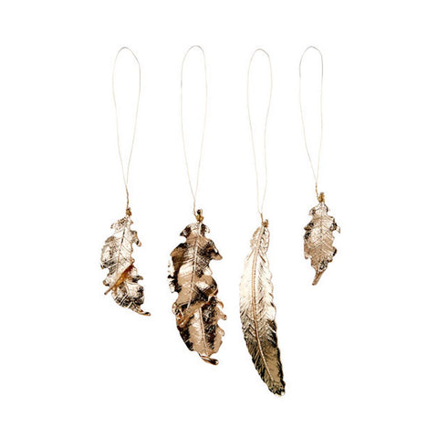 Rogue | Elegant Set of 12 Gold Metal Feather & Leaf Decorations