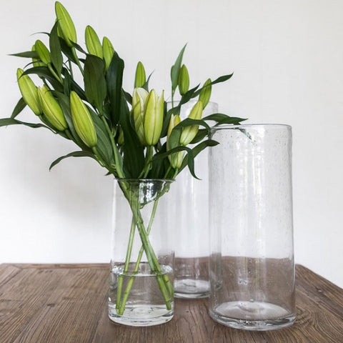Ivory House | Straight Bubble Glass Vase Small