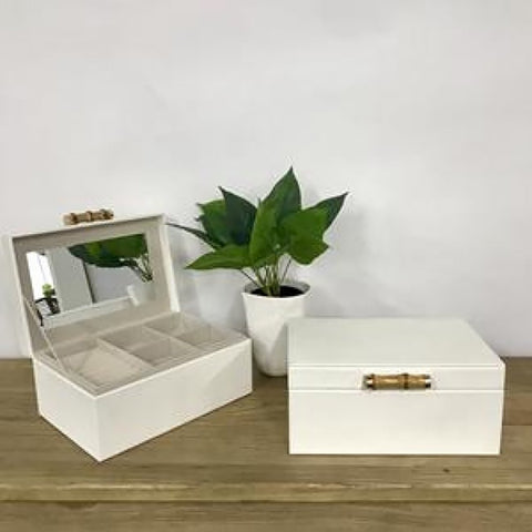 Ivory House | Grace Large Jewellery Box with Bamboo Handle in White