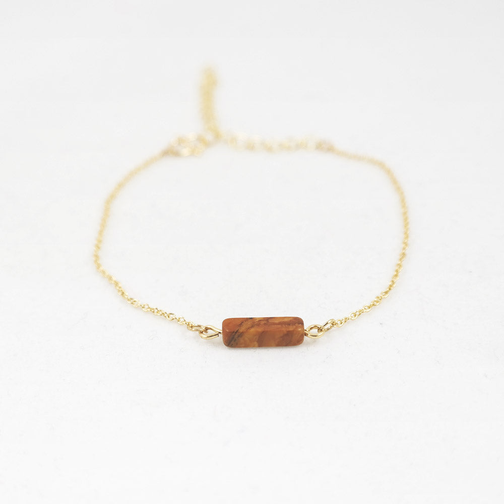 sophari | Block Bar Pendant Bracelet in Gold with Brown Coffee Stone