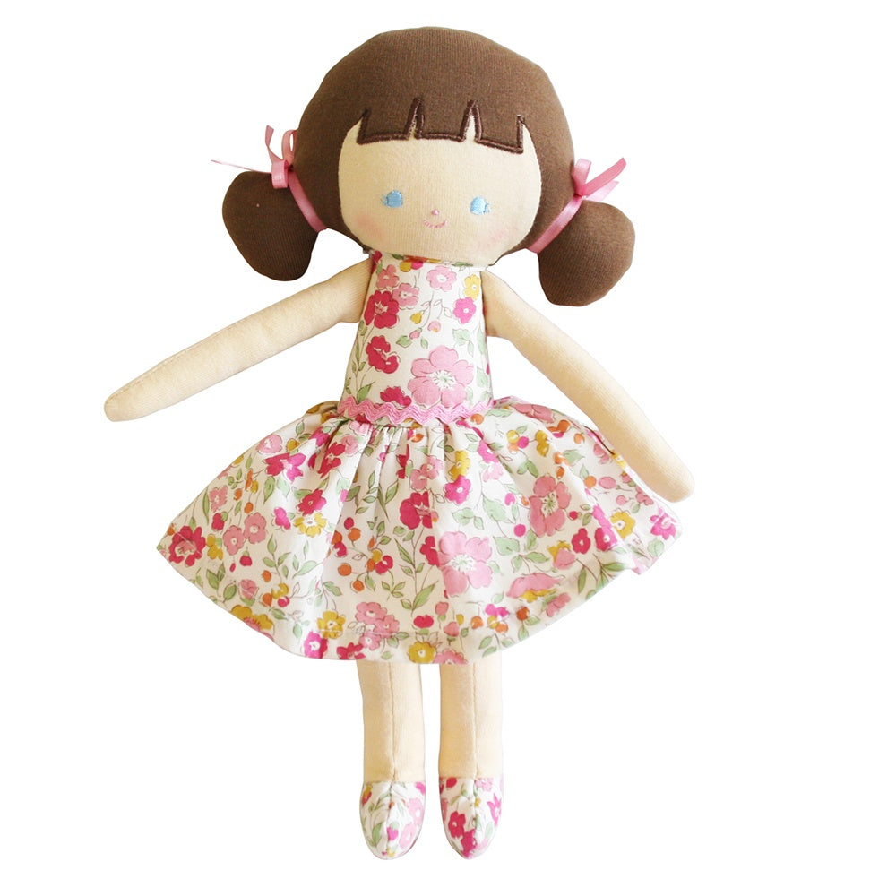 Alimrose Designs | Audrey Brunette Doll in Floral Rose Garden