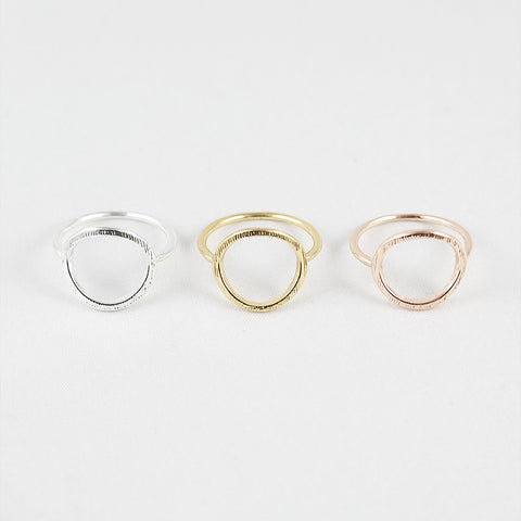 sophari | Open circle ring in silver, 18k gold or rose gold plated