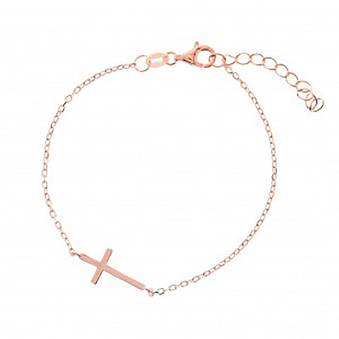 123home | Sterling Silver (925) Rose Gold Plated Classic Cross Bracelet