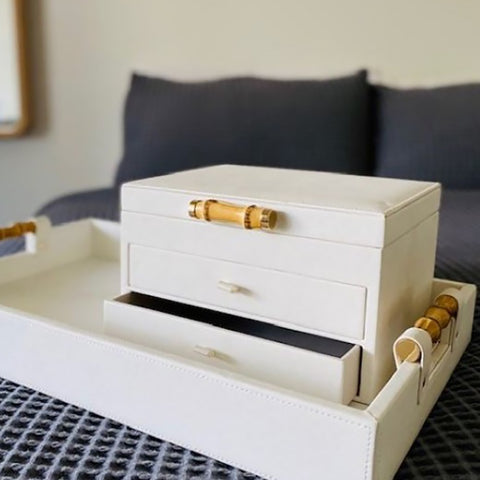 Ivory House | Grace Large Jewellery Box with Drawers & Bamboo Handle in White