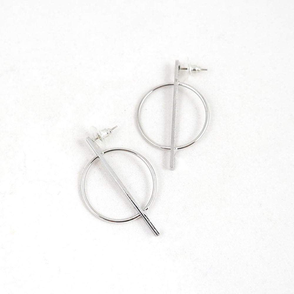 sophari | Hooped Bar Circle Drop Earrings in Silver