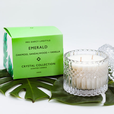 Mrs. Darcy | Crystal Collection Candle Emerald: Oakmoss, Sandalwood + Vanilla