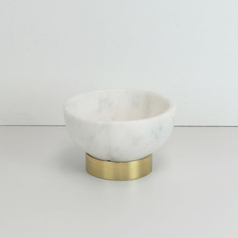123home | Gold Brass Footed Large White Marble Bowl