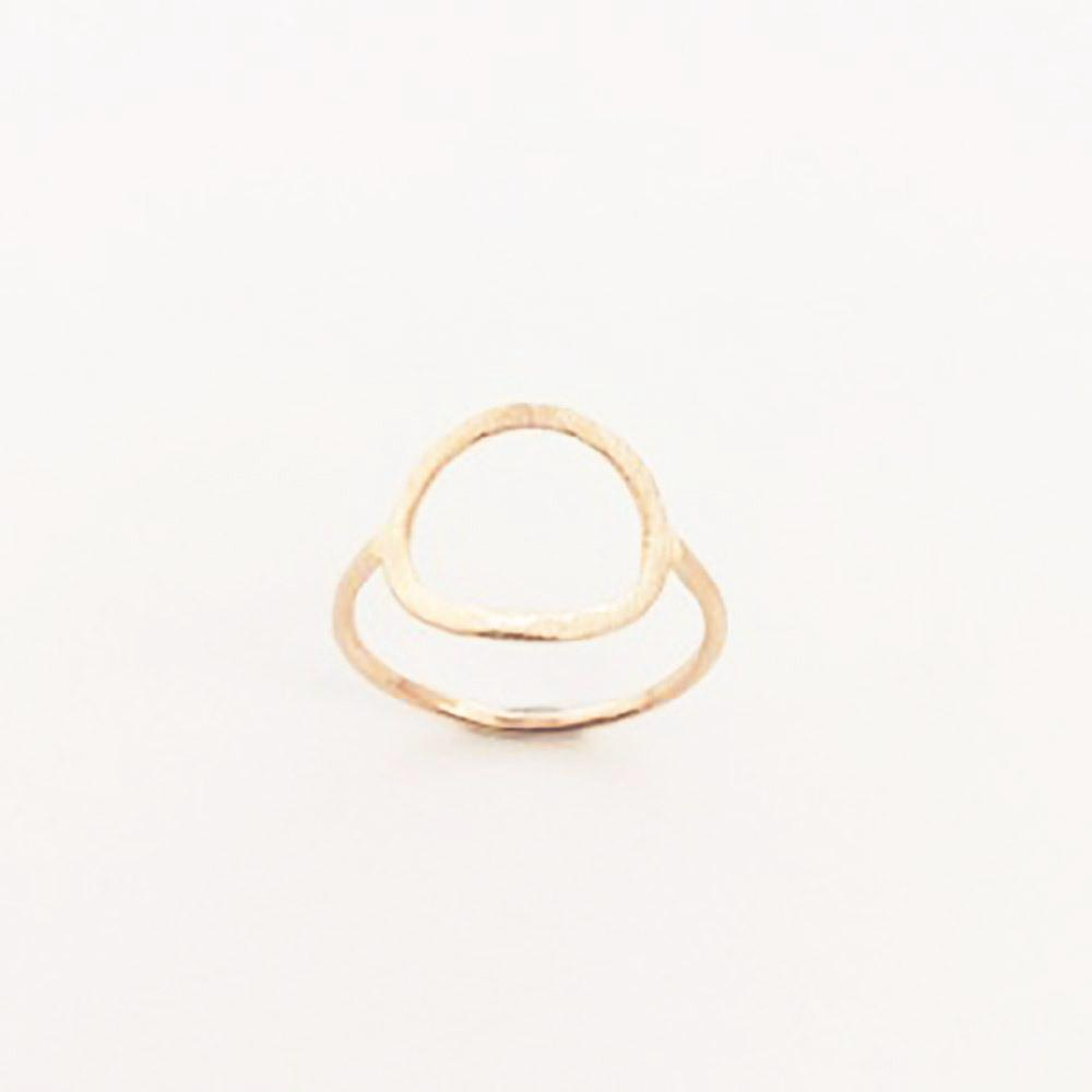 123home | Sterling Silver Rose Gold Plated Open Circle Ring