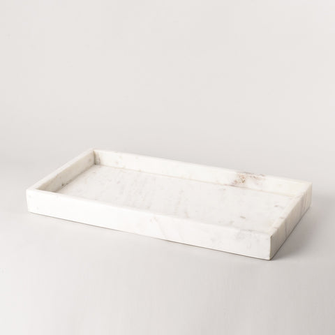 123home | White Marble Rectangular Display Serving Tray