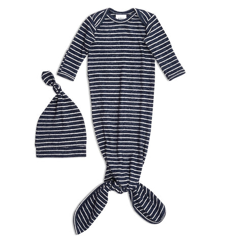 aden + anais | Snuggle Knit Knotted Gown & Hat Set in Navy Blue Stripe