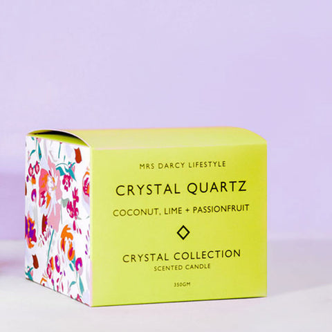 Mrs. Darcy | Crystal Candle Collection - Crystal Quartz: Coconut, Lime & Passionfruit