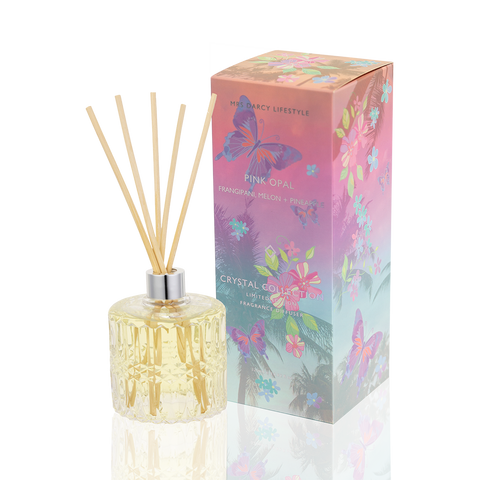 Mrs. Darcy | Crystal Reed Scented Diffuser in Pink Opal: Frangipani, Melon + Pineapple