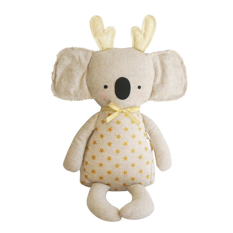 Alimrose | Sitting Christmas Koala Linen Doll with Antlers in Gold Star