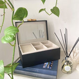 Ivory House | Grace Large Jewellery Box with Bamboo Handle in Black