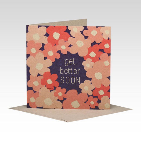 Rhicreative | Floral Get Better Soon Square Greeting Gift Card on Enviroboard