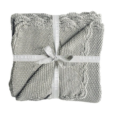 Alimrose Designs | Knit Mini Moss Stitch 100% Cotton Blanket in Grey