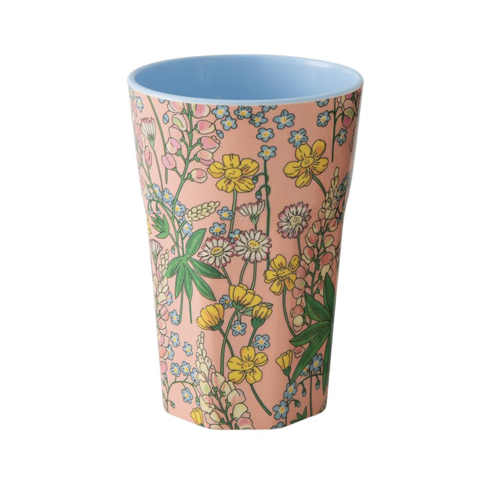RICE | Tall Large Melamine Cup in Floral Lupin Print