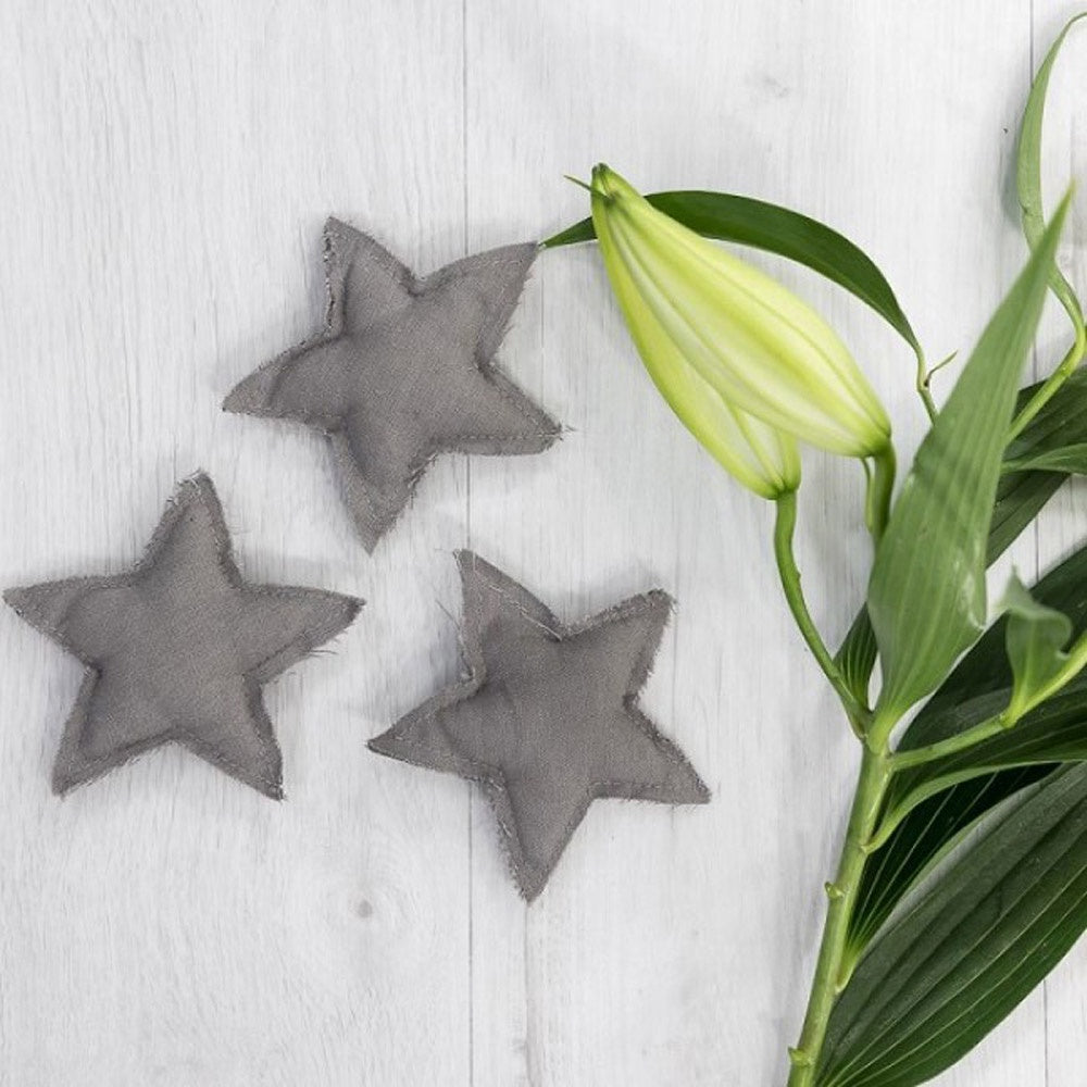 Ivory House | Fabric Star Hanging Decoration in Dark Grey