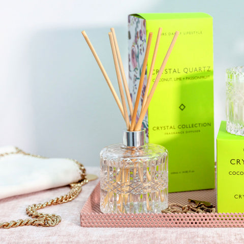 Mrs. Darcy | Crystal Collection Diffuser Crystal Quartz: Coconut, Lime & Passionfruit