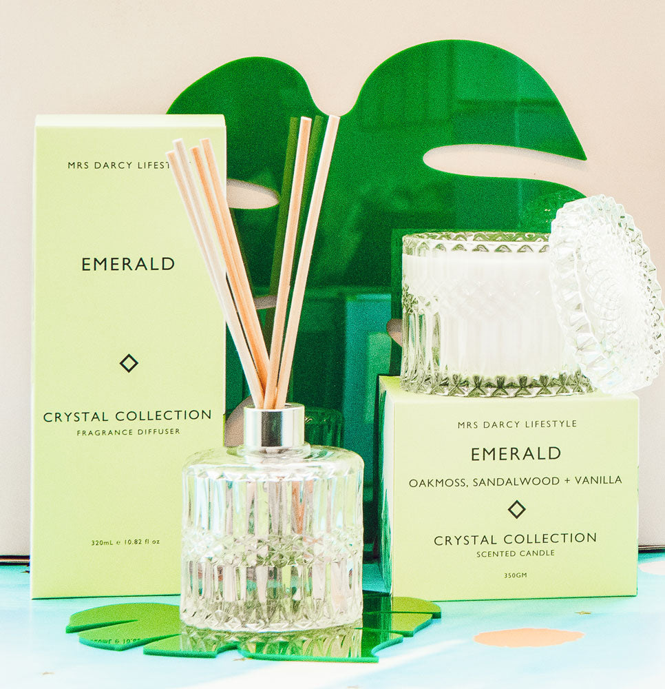 Mrs. Darcy | Crystal Collection Diffuser Emerald: Oakmoss, Sandalwood + Vanilla