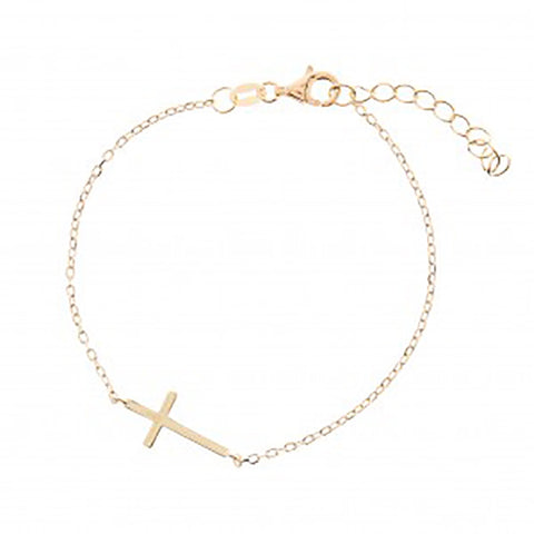 123home | Sterling Silver (925) Gold Plated Classic Cross Bracelet
