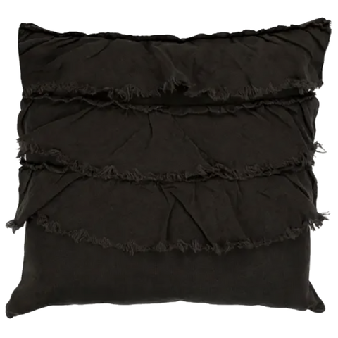 Raine & Humble | Linen Layered Frill Cushion with Feather Insert in Charcoal Grey