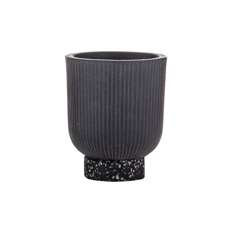 Amalfi | Ari Planter Pot Small in Black Ceramic with Terrazzo Base