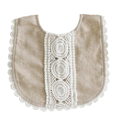 Alimrose Designs | Olivia Linen Bib in Natural Tan with Lace