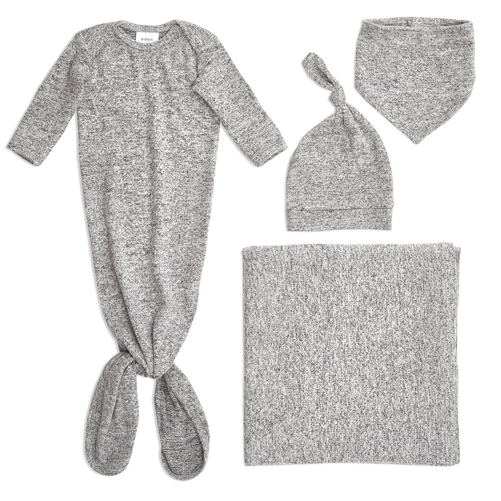 aden + anais | Snuggle Knit Knotted Gown Newborn Gift Set in Heather Grey