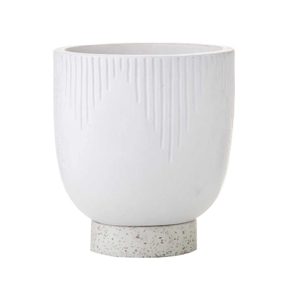 Amalfi | Ari Planter Pot in White Ceramic with Terrazzo Base
