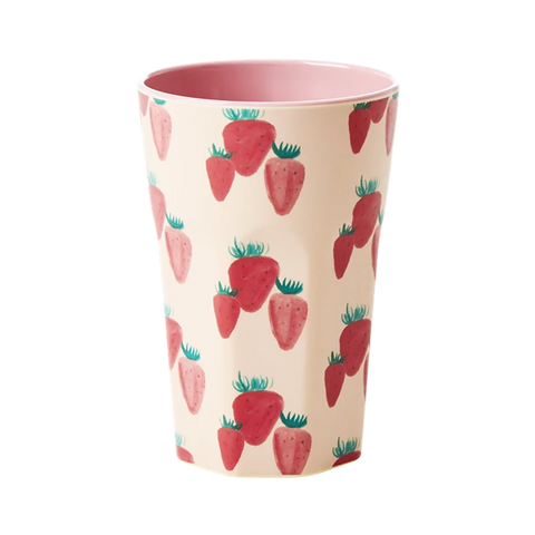 RICE | Tall Large Melamine Cup in Strawberry Print