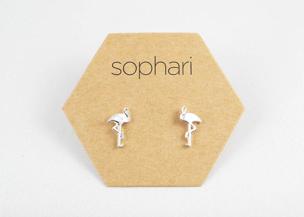 sophari | Flamingo Stud Earrings in silver plated